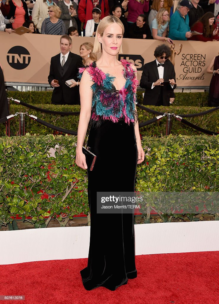 Actress Sarah Paulson attends The 22nd Annual Screen Actors Guild Awards at The Shrine Auditorium on January 30 2016 in Los Angeles California...