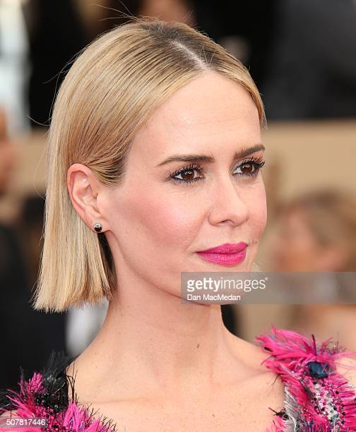 Actress Sarah Paulson attends the 22nd Annual Screen Actors Guild Awards at The Shrine Auditorium on January 30 2016 in Los Angeles California