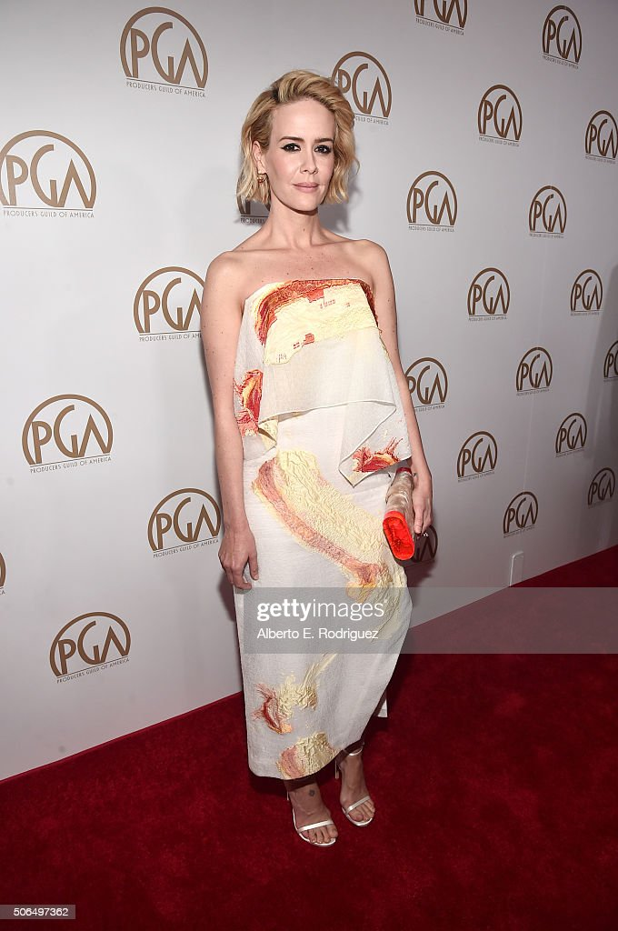 Actress Sarah Paulson attends the 27th Annual Producers Guild Of America Awards at the Hyatt Regency Century Plaza on January 23, 2016 in Century City, California.