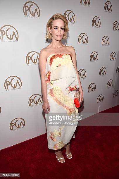 Actress Sarah Paulson attends the 27th Annual Producers Guild Of America Awards at the Hyatt Regency Century Plaza on January 23 2016 in Century City...