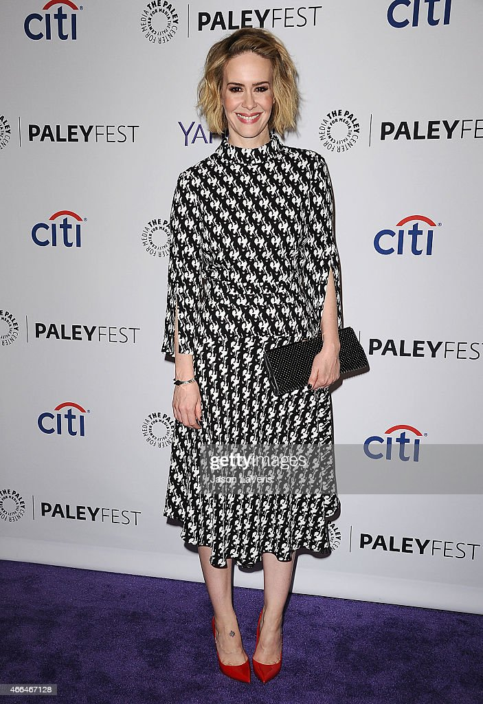 Actress Sarah Paulson attends the 'American Horror Story Freak Show' event at the 32nd annual PaleyFest at Dolby Theatre on March 15 2015 in...