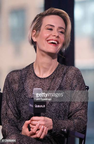 Actress Sarah Paulson attends The Build Series Presents Sarah Paulson and Mark Duplass to discuss the film 'Blue Jay' at AOL HQ on October 6 2016 in...