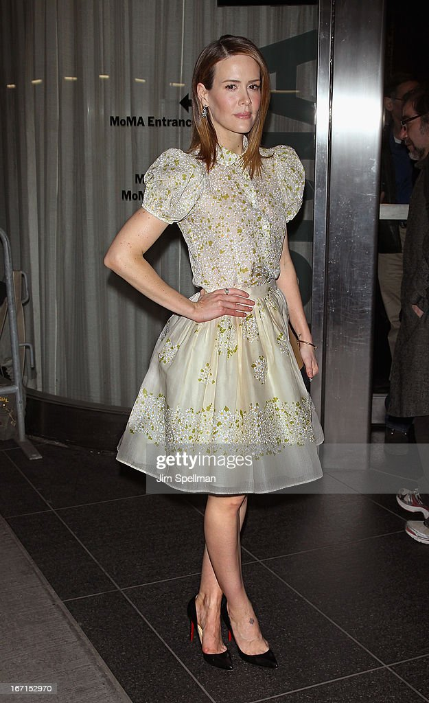Actress <a gi-track='captionPersonalityLinkClicked' href=/galleries/search?phrase=Sarah+Paulson&family=editorial&specificpeople=220657 ng-click='$event.stopPropagation()'>Sarah Paulson</a> attends the Cinema Society with FIJI Water & Levi's screening of 'Mud' at The Museum of Modern Art on April 21, 2013 in New York City.