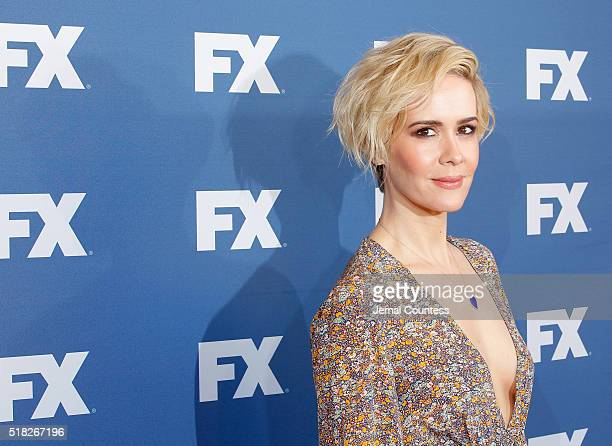 Actress Sarah Paulson attends the FX Networks Upfront Screening Of 'The People v OJ Simpson American Crime Story' at AMC Empire 25 theater on March...