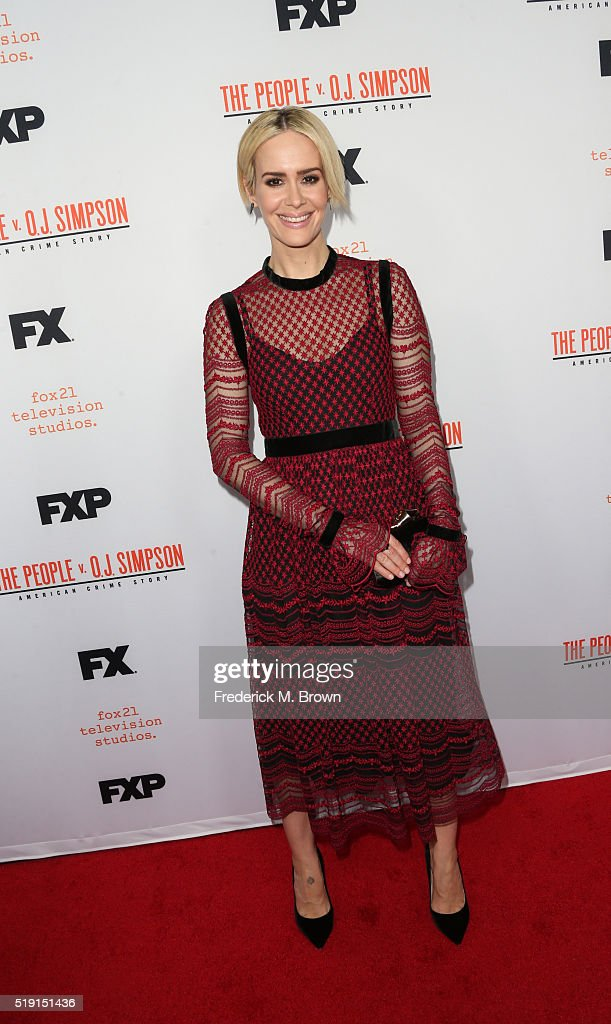 Actress Sarah Paulson attends the FX's For Your Consideration Event for 'The People v OJ Simpson American Crime Story' at The Theatre at Ace Hotel on...