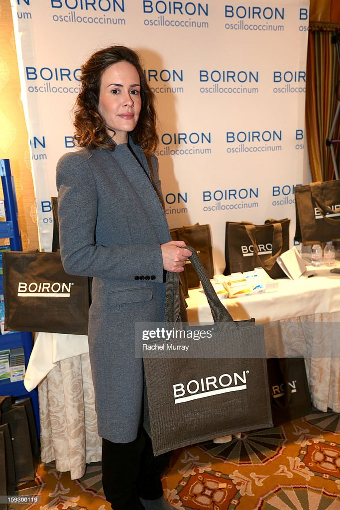 Actress <a gi-track='captionPersonalityLinkClicked' href=/galleries/search?phrase=Sarah+Paulson&family=editorial&specificpeople=220657 ng-click='$event.stopPropagation()'>Sarah Paulson</a> attends the HBO Luxury Lounge in honor of the 70th Annual Golden Globe Awards at Four Seasons Hotel Los Angeles at Beverly Hills on January 12, 2013 in Beverly Hills, California.
