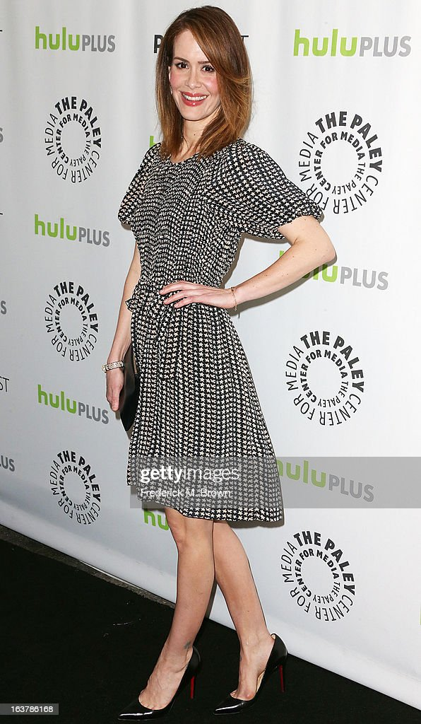 Actress <a gi-track='captionPersonalityLinkClicked' href=/galleries/search?phrase=Sarah+Paulson&family=editorial&specificpeople=220657 ng-click='$event.stopPropagation()'>Sarah Paulson</a> attends The Paley Center For Media's PaleyFest 2013 Honoring 'American Horror Story: Asylum' at the Saban Theatre on March 15, 2013 in Beverly Hills, California.