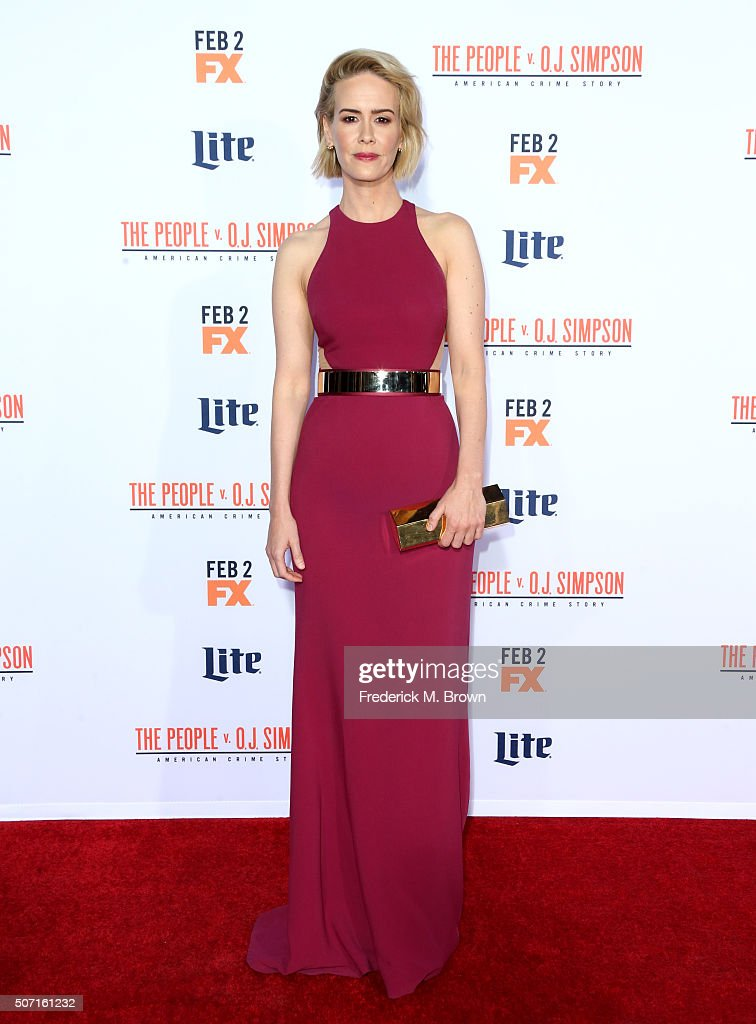 Actress Sarah Paulson attends the premiere of FX's 'American Crime Story The People V OJ Simpson' at Westwood Village Theatre on January 27 2016 in...