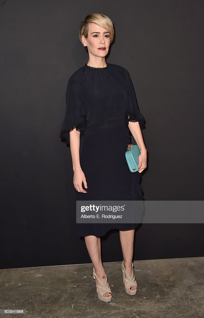 Actress Sarah Paulson attends the premiere of 'Past Forward', a movie by David O. Russell presented by Prada on November 15, 2016 at Hauser Wirth Schimmel Gallery in Los Angeles, California.