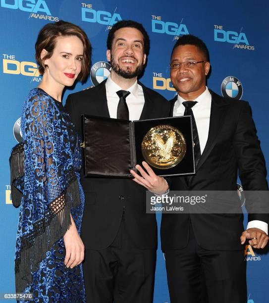 Actress Sarah Paulson director Ezra Edelman and actor Cuba Gooding Jr pose in the press room at the 69th annual Directors Guild of America Awards at...