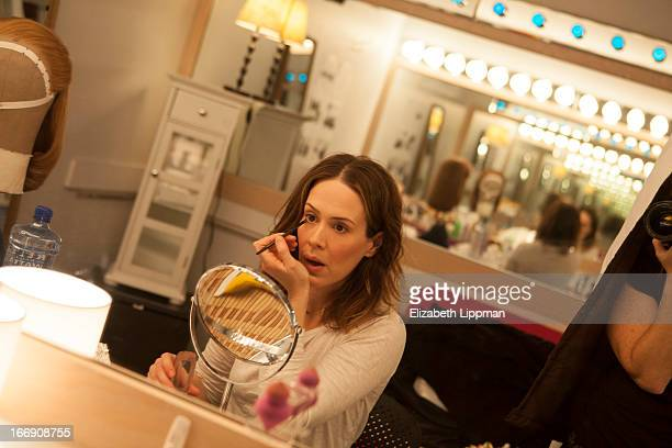 Actress Sarah Paulson is photographed backstage of Talley's Folley for Wall Street Journal on February 26 2013 at Laura Pels Theater in New York City