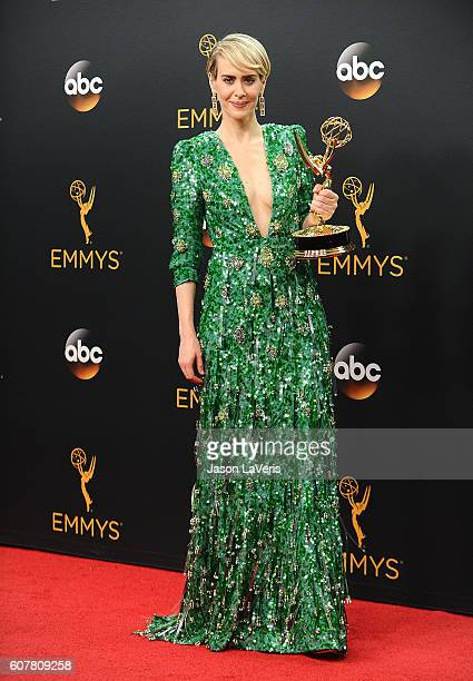 Actress Sarah Paulson poses in the press room at the 68th annual Primetime Emmy Awards at Microsoft Theater on September 18 2016 in Los Angeles...
