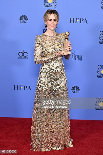 Actress Sarah Paulson poses in the press room during the 74th Annual Golden Globe Awards at The Beverly Hilton Hotel on January 8 2017 in Beverly...