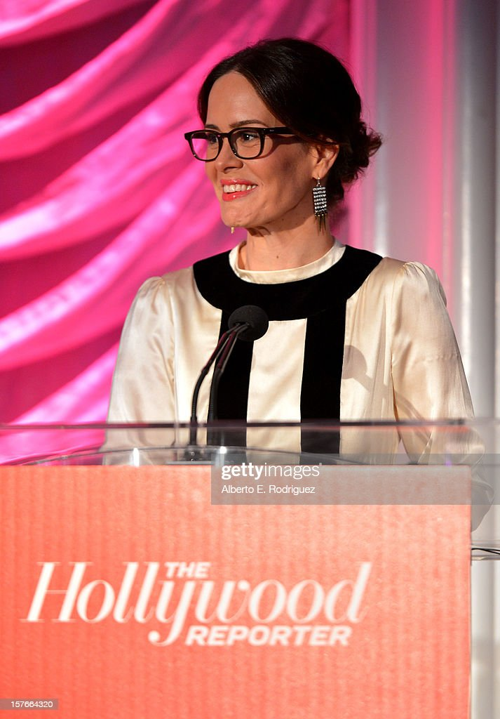 Actress <a gi-track='captionPersonalityLinkClicked' href=/galleries/search?phrase=Sarah+Paulson&family=editorial&specificpeople=220657 ng-click='$event.stopPropagation()'>Sarah Paulson</a> speaks at The Hollywood Reporter's 'Power 100: Women In Entertainment' Breakfast at the Beverly Hills Hotel on December 5, 2012 in Beverly Hills, California.