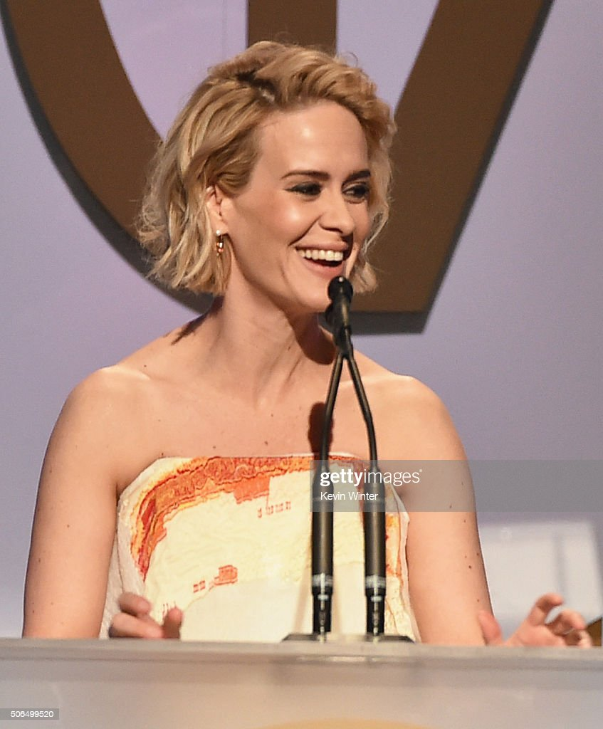Actress Sarah Paulson speaks onstage at the 27th Annual Producers Guild Of America Awards at the Hyatt Regency Century Plaza on January 23, 2016 in Century City, California.