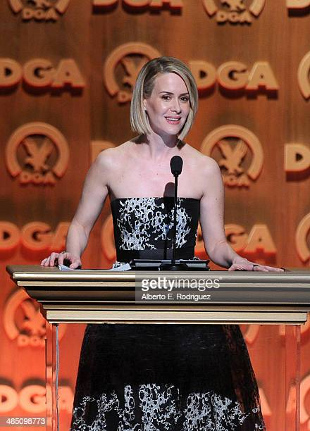 Actress Sarah Paulson speaks onstage at the 66th Annual Directors Guild Of America Awards held at the Hyatt Regency Century Plaza on January 25 2014...