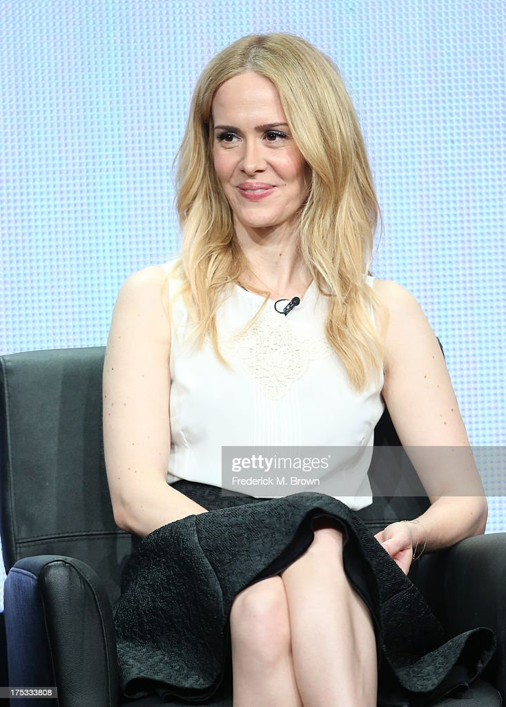 Actress <a gi-track='captionPersonalityLinkClicked' href=/galleries/search?phrase=Sarah+Paulson&family=editorial&specificpeople=220657 ng-click='$event.stopPropagation()'>Sarah Paulson</a> speaks onstage during the 'American Horror Story: Coven' panel discussion at the FX portion of the 2013 Summer Television Critics Association tour - Day 10 at The Beverly Hilton Hotel on August 2, 2013 in Beverly Hills, California.