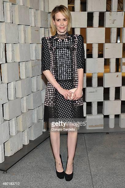 Actress Sarah Paulson wearing Bottega Veneta attends the Hammer Museum Gala in Garden sponsored by Bottega Veneta at Hammer Museum on October 10 2015...