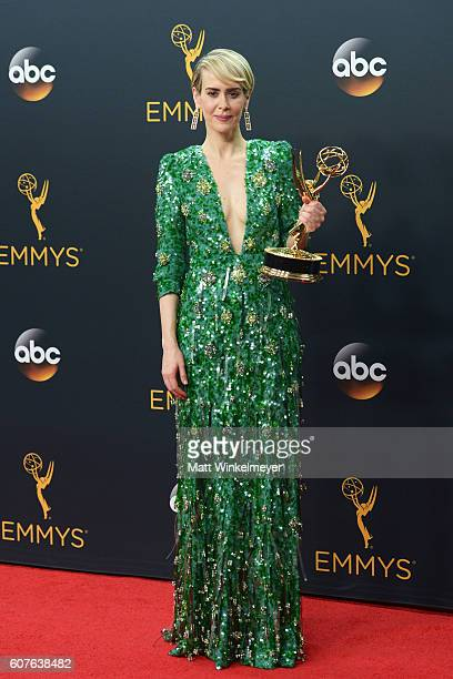 Actress Sarah Paulson winner of the Outstanding Lead Actress in a Limited Series or Movie for 'The People vs OJ Simpson American Crime Story' poses...