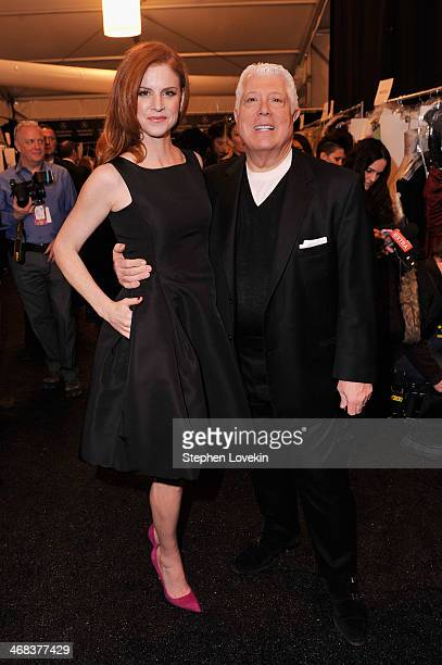Actress Sarah Rafferty and designer Dennis Basso pose backstage at the Dennis Basso fashion show during MercedesBenz Fashion Week Fall 2014 at The...