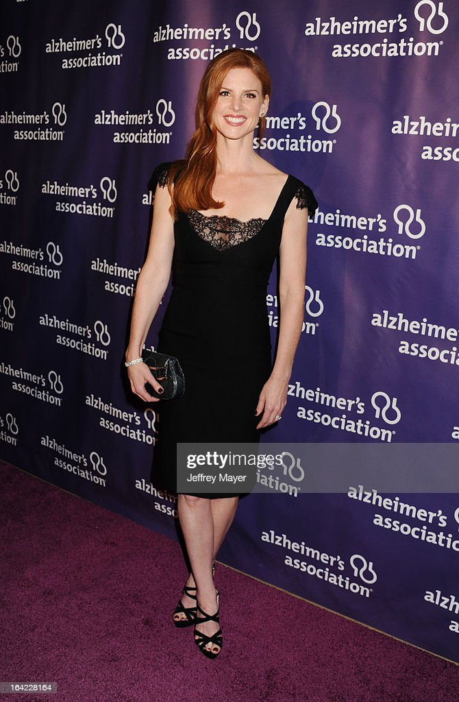 Actress Sarah Rafferty arrives at the 21st Annual 'A Night At Sardi's' to benefit the Alzheimer's Association at The Beverly Hilton Hotel on March 20, 2013 in Beverly Hills, California.