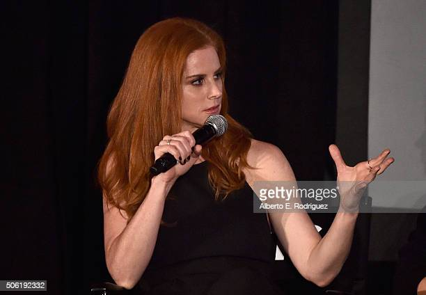 Actress Sarah Rafferty attends a QA following the premiere of USA Network's 'Suits' Season 5 at Sheraton Los Angeles Downtown Hotel on January 21...