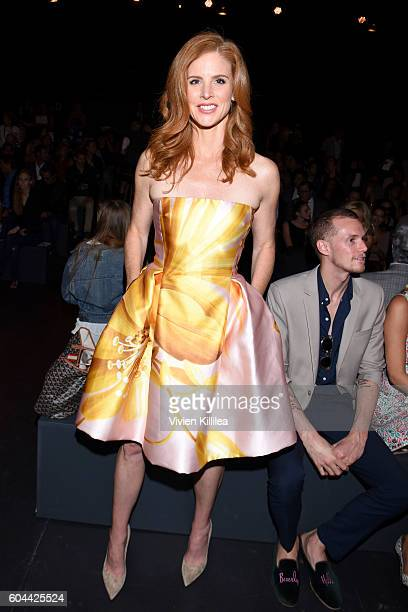 Actress Sarah Rafferty attends the Dennis Basso fashion show during New York Fashion Week The Shows at The Arc Skylight at Moynihan Station on...