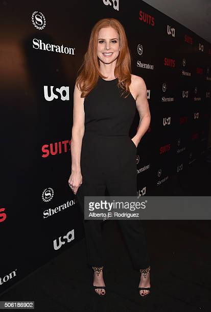 Actress Sarah Rafferty attends the premiere of USA Network's 'Suits' Season 5 at the Sheraton Los Angeles Downtown Hotel on January 21 2016 in Los...