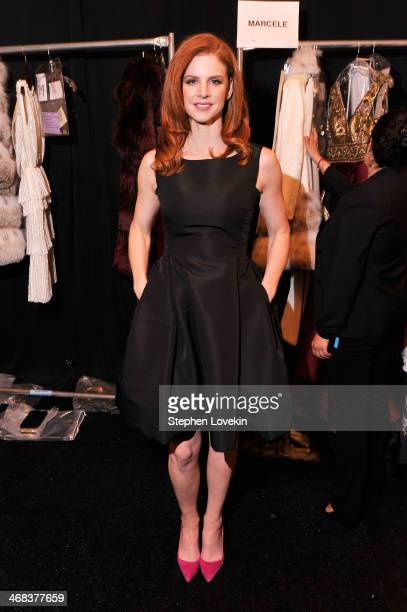 Actress Sarah Rafferty poses backstage at the Dennis Basso fashion show during MercedesBenz Fashion Week Fall 2014 at The Theatre at Lincoln Center...