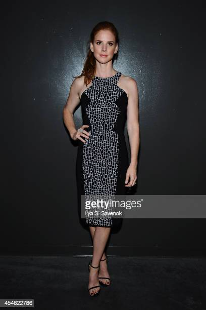 Actress Sarah Rafferty poses backstage at the Jay Godfrey fashion show during MercedesBenz Fashion Week Spring 2015 at The Hub at The Hudson Hotel on...