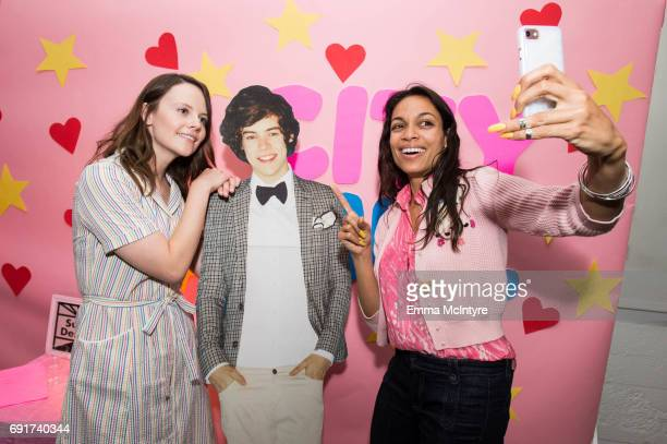 Actress Sarah Ramos and actress Rosario Dawson attend 'Super Deluxe and Sarah Ramos present a live reading of City Girl' on June 2 2017 in Los...