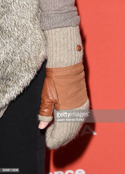 Actress Sarah Roemer glove detail attends the 'Outlaws Angels' Premiere during the 2016 Sundance Film Festival at Library Center Theater on January...