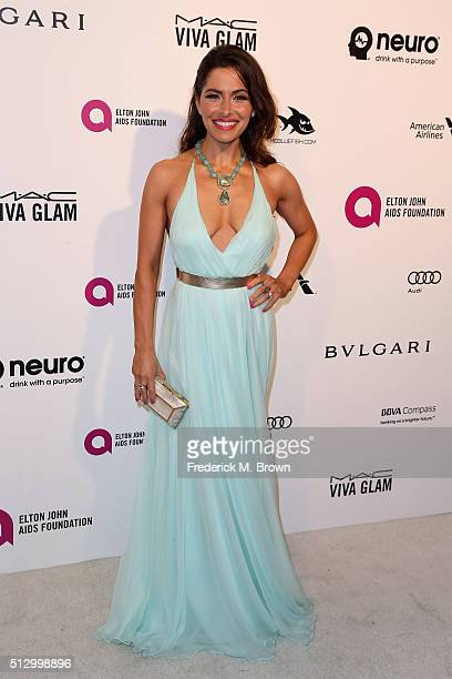 Actress Sarah Shahi attends the 24th Annual Elton John AIDS Foundation's Oscar Viewing Party on February 28 2016 in West Hollywood California