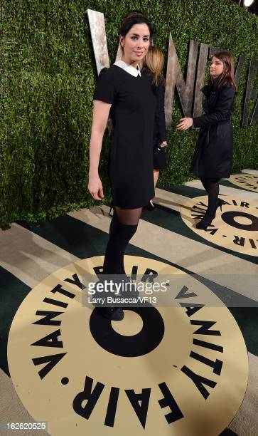 Actress Sarah Silverman arrives for the 2013 Vanity Fair Oscar Party hosted by Graydon Carter at Sunset Tower on February 24 2013 in West Hollywood...