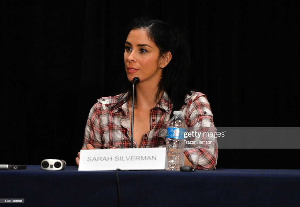 Actress <a gi-track='captionPersonalityLinkClicked' href=/galleries/search?phrase=Sarah+Silverman&family=editorial&specificpeople=241299 ng-click='$event.stopPropagation()'>Sarah Silverman</a> attends Walt Disney Studios: 'Frankenweenie,' 'Wreck It Ralph' and 'Oz' during Comic-Con International 2012 held at the Hilton San Diego Bayfront Hotel on July 13, 2012 in San Diego, California.