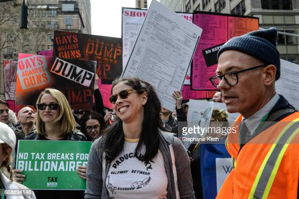 Actress Sarah Silverman participates in a Tax Day protest on April 15 2017 in New York City Activists in cities across the nation are marching today...