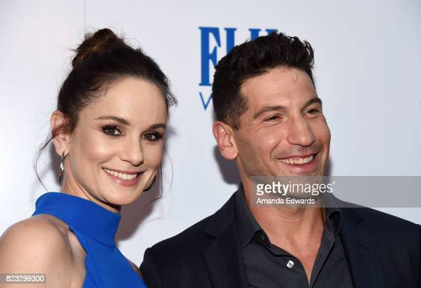 Actress Sarah Wayne Callies and actor Jon Bernthal arrive at the premiere of The Weinstein Company's 'Wind River' at The Theatre at Ace Hotel on July...