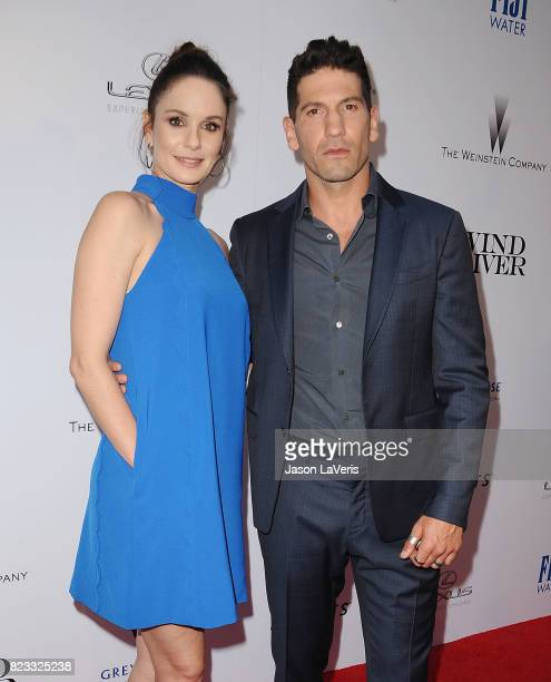 Actress Sarah Wayne Callies and actor Jon Bernthal attend the premiere of 'Wind River' at The Theatre at Ace Hotel on July 26 2017 in Los Angeles...