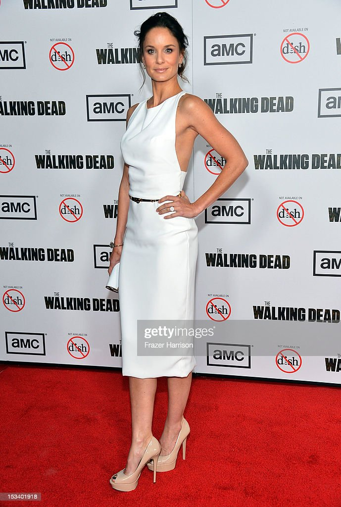 Actress Sarah Wayne Callies arrives at the premiere of AMC's 'The Walking Dead' 3rd Season at Universal CityWalk on October 4, 2012 in Universal City, California.