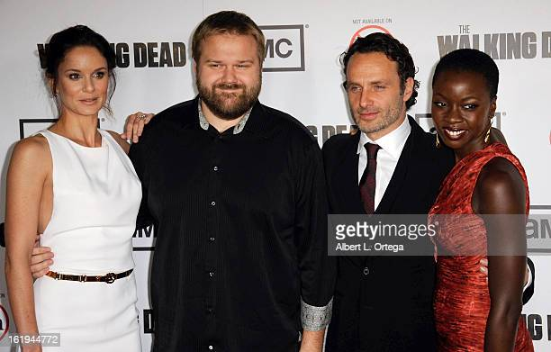 Actress Sarah Wayne Callies creator Robert Kirkman actor Andrew Lincoln and actress Danai Gurira arrive for AMC's 'The Walking Dead' Season 3...
