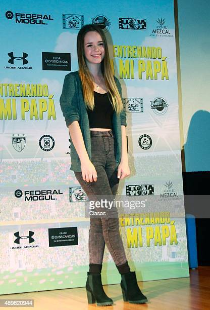 Actress Sarai Meza poses for pictures during the presentation of the film 'Entrenando a mi Papa' on September 24 2015 in Mexico City Mexico