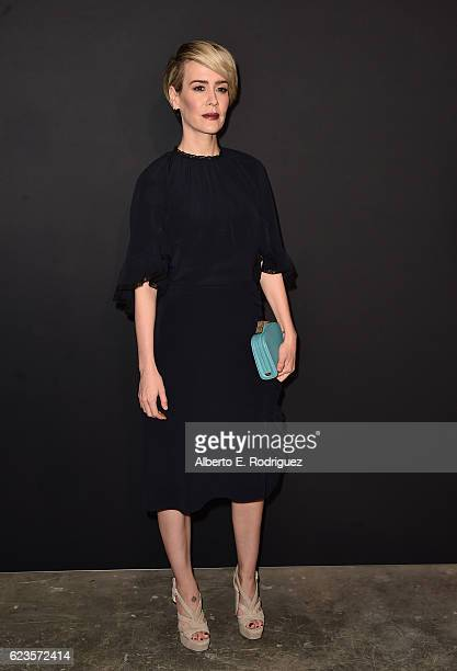 Actress Sarrah Paulson attends Prada Presents 'Past Forward' by David O Russell premiere at Hauser Wirth Schimmel on November 15 2016 in Los Angeles...