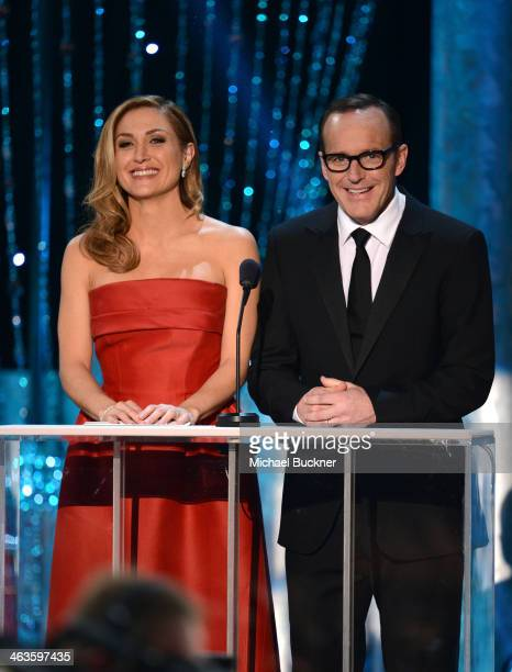 Actress Sasha Alexander and actor Clark Gregg speak onstage during 20th Annual Screen Actors Guild Awards at The Shrine Auditorium on January 18 2014...