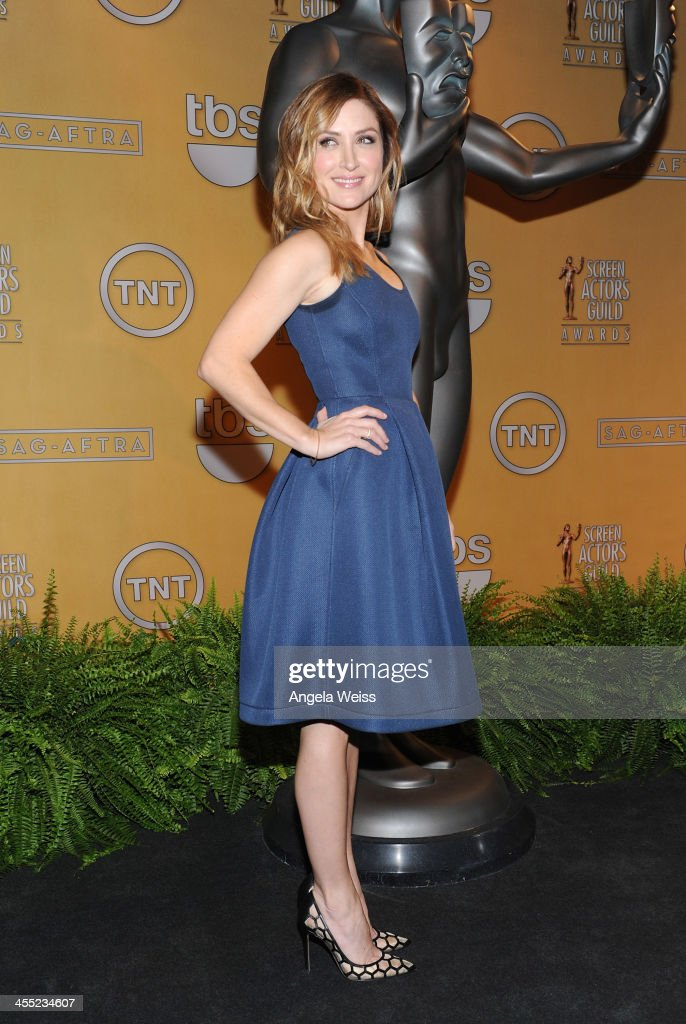 Actress <a gi-track='captionPersonalityLinkClicked' href=/galleries/search?phrase=Sasha+Alexander&family=editorial&specificpeople=215373 ng-click='$event.stopPropagation()'>Sasha Alexander</a> attends the 20th Annual Screen Actors Guild Awards Nominations Announcement at Pacific Design Center on December 11, 2013 in West Hollywood, California.