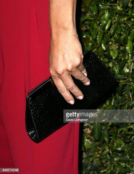 Actress Sasha Alexander fashion detail attends the 2016 Women In Film Max Mara Face of the Future celebrating Natalie Dormer at Chateau Marmont on...