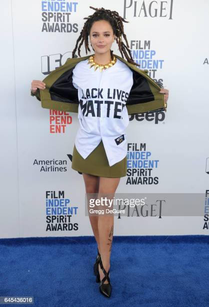 Actress Sasha Lane arrives at the 2017 Film Independent Spirit Awards on February 25 2017 in Santa Monica California