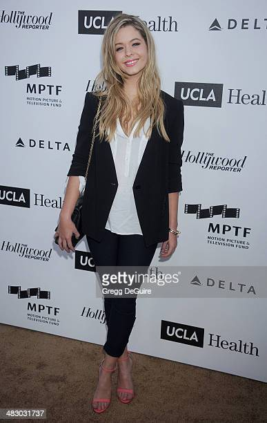 Actress Sasha Pieterse arrives at the 3rd Annual Reel Stories Real Lives event at Milk Studios on April 5 2014 in Hollywood California