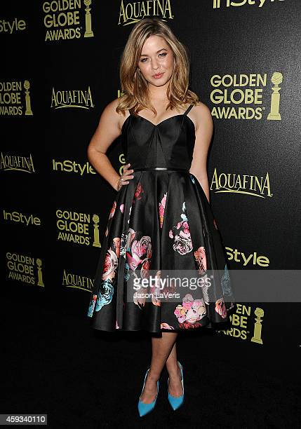 Actress Sasha Pieterse attends the Hollywood Foreign Press Association and InStyle's celebration of the 2015 Golden Globe award season at Fig Olive...