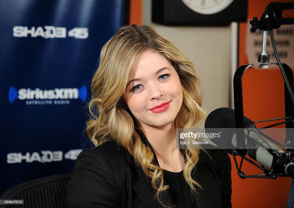 Actress Sasha Pieterse visits 'Sway in the Morning' with Sway Calloway on Eminem's Shade 45 at SiriusXM Studios on December 9, 2013 in New York City.