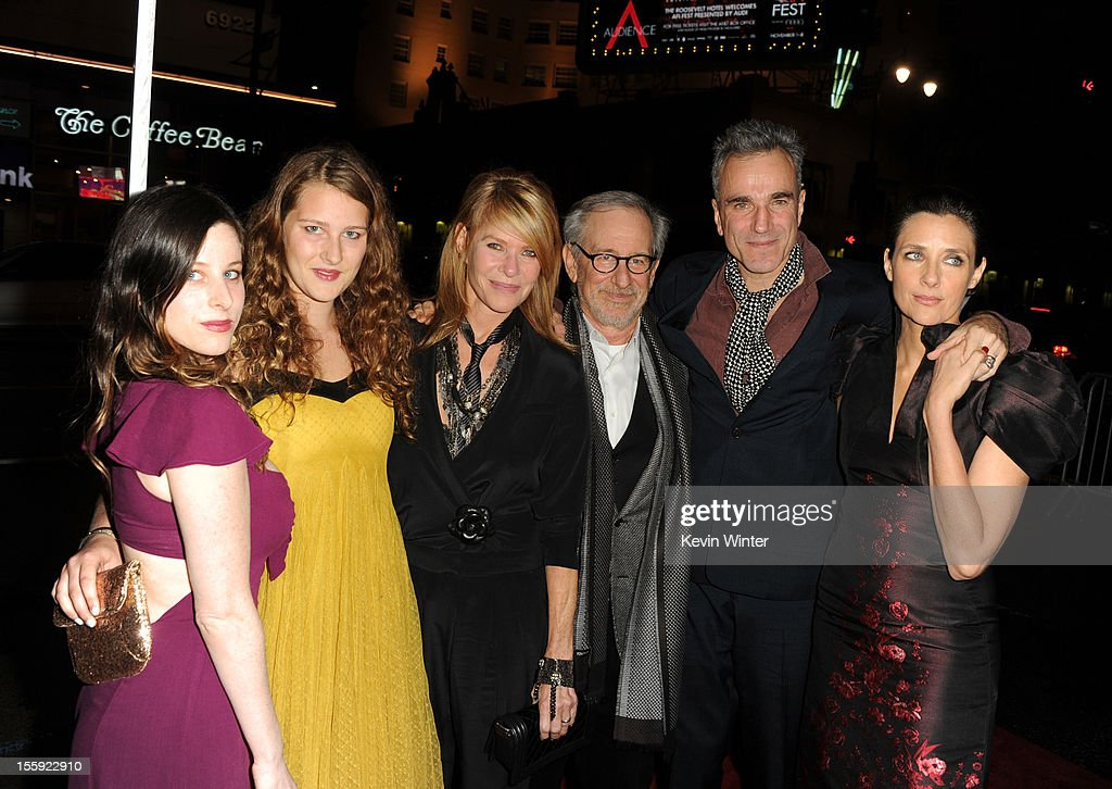 actress Sasha Spielberg, Destry Allyn Spielberg, actress Kate Capshaw, director Steven Spielberg, actor Daniel Day-Lewis and filmmaker Rebecca Miller arrive at the 'Lincoln' premiere during AFI Fest 2012 presented by Audi at Grauman's Chinese Theatre on November 8, 2012 in Hollywood, California.